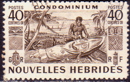 NEW HEBRIDES(French Inscr.) 1953 SG F87 40c Used - French Legend