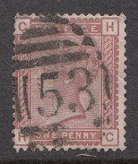 """1880's Great Britain QV Surface Printed Issue 1d Clean 53 """"BATH"""" Numeral Cancel Used SG166"""