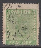SUEDE 1858-70 1 TP Armoiries N° 6 Y&T Oblitéré - Suède