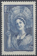 FRANCE CHAMPENOISE COIFFÉE DU TOQUAT N°388 1938 NEUF ** LUXE MNH
