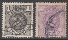 SUEDE 1910-19 2 TP Armoiries N° 55 Et 57 Y&T Oblitéré - Suède