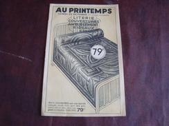 Dépliant Publicitaire Magasin AU Printemps PARIS  LITERIE COUVERTURES AMEUBLEMENT RIDEAUX 1934 - Textile & Vestimentaire