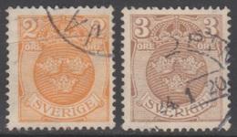 SUEDE 1910-19 2 TP Armoiries N° 74 Et 74A Y&T Oblitéré - Suède