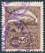Hungary 1927 Revenue Fiscal Tax 40 Fil. Wmk L Gebührenmarke Railway Eisenbahn Chemin Fer TRAIN Steam Locomotive BRIDGE