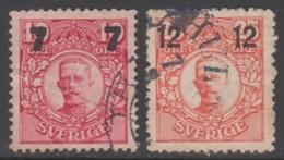 SUEDE 1918-19 2 TP Gustave V N° 106 à 107 Y&T Oblitéré