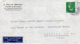 1940/47  Enkelfrankering NVPH 343 Op Luchtpostbrief Van Amsterdam Naar New York