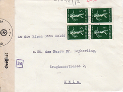 1940  Blok Van 4  NVPH 330 Op Geopende En Gecensureerde Brief Van Amsterdam Naar Köln