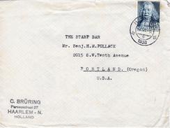 1938 Brief Van Haarlem Met Firmalogo Naar Portland USA Met Enkelfrankering NVPH 309 (BOERHAVE)
