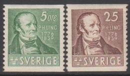 SUEDE 1939 2 TP Centenaire De La Mort De P.H. Ling N° 273 à 274 Y&T Neuf * Charnière - Nuovi
