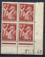 1699 - FRANCE  N°431  80c  Brun - Carminé   Type  Iris  Du 27.5.40       TB/TTB - Dated Corners