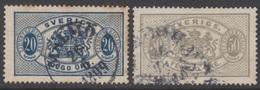 SUEDE 1891 2 TP De Service N° 17 Et 18 Y&T Oblitéré