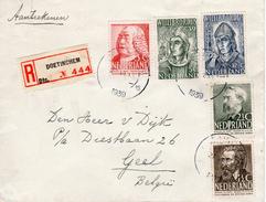 1939 Aaangetekende Brief Van DOETINCHEM Naar Geel In België Met Combinatiefrankering