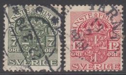 SUEDE 1910-19 2 TP De Service N° 36 Et 39 Y&T Oblitéré
