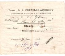 Note D'envoi D'un Transport D'une Caisse Envoi De Cornille-Acheroy C.Hexagonal Charleroi 15/6/1881 Pour Jumet PR3992 - Bélgica