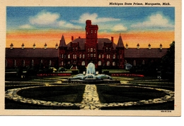 MARQUETTE, Michigan, USA, Michigan State Prison, Old Curteich Linen Postcard - Etats-Unis