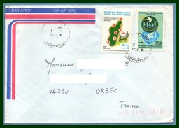 Madagascar Lettre Croix Rouge Red Cross & Nations Unies ONU UN Colombe Voy 1986 > France Orbec