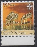 Guiné-Bissau Guinea Guinée Bissau 2003 Mi. 2841 Sheet Fauna Zebras Zèbres Faune Local Franking Rare !