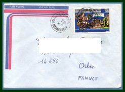Madagascar Lettre Jeux Olympiques De Barcelone 1992 Voy 1989 Majunga  > France Orbec Haltérophilie
