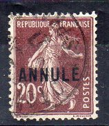 N° 20  -  Semeuse Fond Plein  - 20c  Brun-lilas - Oblitéré