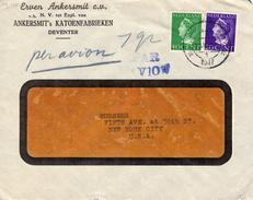 1947 Luchtpostbrief Van Deventer Met Firmalogo Naar New York Met Combinatiefrankering