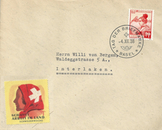 """Sonderstempel  """"Tag Der Briefmarke Basel""""  (Vignette Schweizerwoche)           1938"""