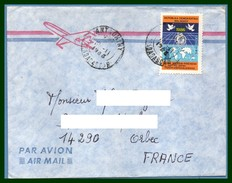 Madagascar Lettre Voy 1986 > France Orbec Colombe Paix Bird Peace Main Hand Carte Map