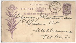 AUSTRALIA NEW SOUTH WALES ENTERO POSTAL FLORES FLOWER 1891 SYDNEY CON IMPRESION PRIVADA WAUGH & JOSEPHSON ENGINEERS