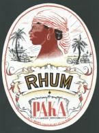 étiquette  Rhum  Paka  Visage Femme Coiffe Bateau Tonneau - Rhum
