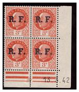 Coin Daté Petain 3F Surchargé RF. 3.3.42. LYON