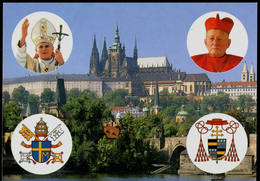 756 CZECHOSLOVAKIA Prepaid Postal Card 1st Visit Of Pope John Paul II. + Cardinal Tomasek + BP, Prague 1990
