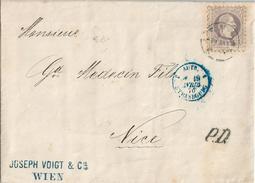 AUTRICHE Superbe Lettre 1870 Wien Pour Nice 25 Kr Violet-gris Seul Sur Lettre Cachet Entrée France Bleu à Strasbourg
