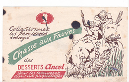 Buvard Chasse Aux Fauves -elephant Tigre - Dessert Ancel - Taché ! - Alimentaire