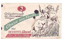 Buvard Chasse Aux Fauves -elephant Tigre - Dessert Ancel - Taché !