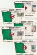 Algérie FDC Carte Maximum - Yvert Série Complète 364 à 368 Cachet Flamme Anniversaire De La Révolution 1/11/1962