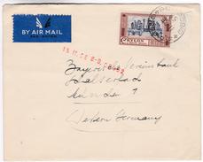 855 Sri Lanka Ceylon Lettre Posted 1958 Colombo To Germany Single Franked Ruins Of Medirigiriya