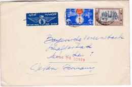856 Sri Lanka Ceylon Lettre Posted 1960 Colombo To Germany Mixed Franked Ruins Of Medirigiriya And Privena University