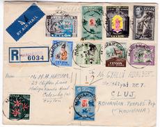 860 Sri Lanka Ceylon Lettre Recommandée Posted 1958 Mariakade To Romania Mixed Franked  /déchiré/