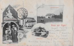 GRUSS AUS STANS → Mehrbildkarte Mit Hôtel Engel, Kirche, Nidwaldnerinnen Usw. Anno 1900 - NW Nidwalden