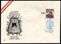 ÖSTERREICH 1957 - FDC 800 Jahre Basilika Mariazell - Blauer Ersttagsstempel 22.6.1957