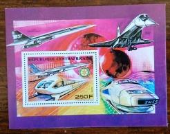 CENTRAFRIQUE Rotary, TGV, Concorde.  Bloc De Luxe Du N° Yvert 846 ** MNH