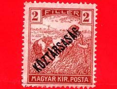 UNGHERIA - Nuovo - 1918 - Agricoltura - Raccolti - Mietitore - Sovrastampato - 2