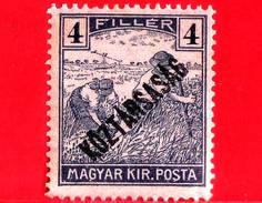 UNGHERIA - Nuovo - 1918 - Agricoltura - Raccolti - Mietitore - Sovrastampato - 4