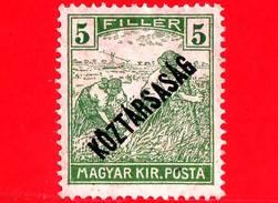 UNGHERIA - Nuovo - 1918 - Agricoltura - Raccolti - Mietitore - Sovrastampato - 5