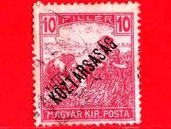 UNGHERIA - Usato - 1918 - Agricoltura - Raccolti - Mietitore - Sovrastampato - 10