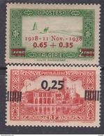 Algérie N° 147 + 148 XX 20 ème Anni. De L´Armistice De 1918 Et Timbre Sursch., Les 2 Valeurs Ss Char.,  TB