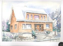 Aquarelle Véritable D'une Maison, Villa  - A SITUER - Format +/- A4 + Passe Partout - Aquarel
