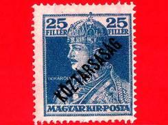 UNGHERIA - Nuovo - 1918 - Re Carlo IV - King Charles IV (1887-1922) -  Sovrastampato - 25