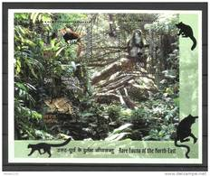 INDIA, 2009, Rare Fauna Set Of North East India,Miniature Sheet, Cat, Panda, Monkey, Animal, MNH,(**)