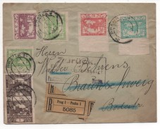 "Czechoslovakia 1919, Prag 1-Praha 1, ""Zuruck"". Multiple Hradcany Franking Registered Braunschweig Germany - Interesting"