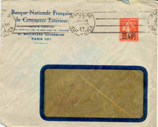Lettre Avec 1f05 Semeuse Surchargé 50c Perforé EX (petite Déchirure De L'enveloppe En Haut) - Perfins